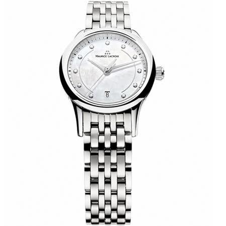 Maurice Lacroix 艾美錶 簡約高貴真鑽女用奢華腕錶-銀x白貝/28mm/LC1113-SS002-170