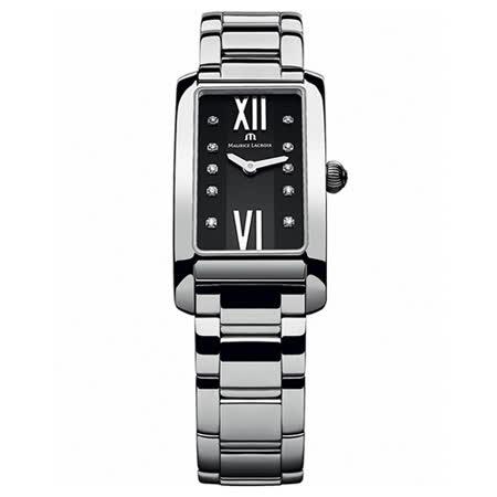 Maurice Lacroix 艾美錶 奢華典雅時尚女用方形鑽錶-黑/20.9mm/FA2164-SS002-350