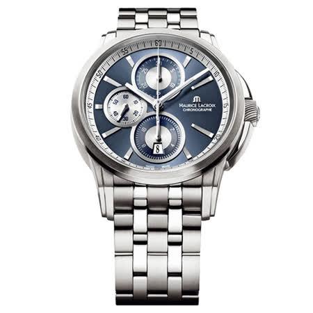 Maurice Lacroix 艾美錶 商務三眼 菁英計時機械腕錶-藍/43mm/PT6188-SS002-430