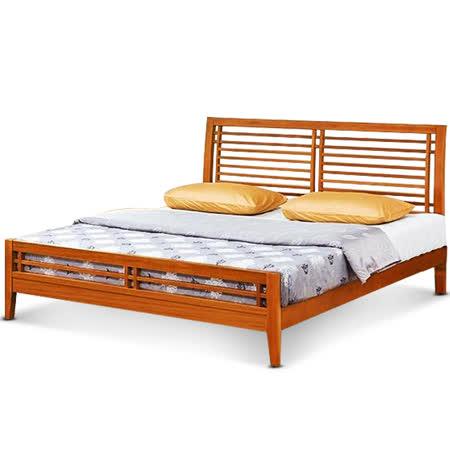 MY傢俬 自然和風簡約簍空5尺實木雙人床架