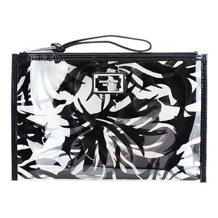 MICHAEL KORS Eliza 夏日花紋透明手拿包(黑)