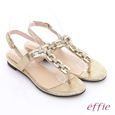 【effie】極緻饗宴 炫亮金屬壓紋閃亮鑽飾涼鞋(金)