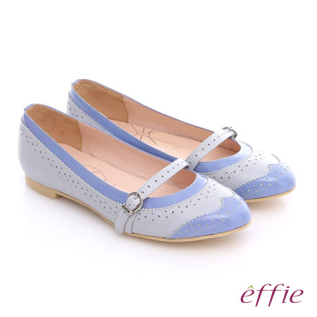 【effie】英倫風情 全真皮甜美牛津緞面娃娃鞋(粉藍)