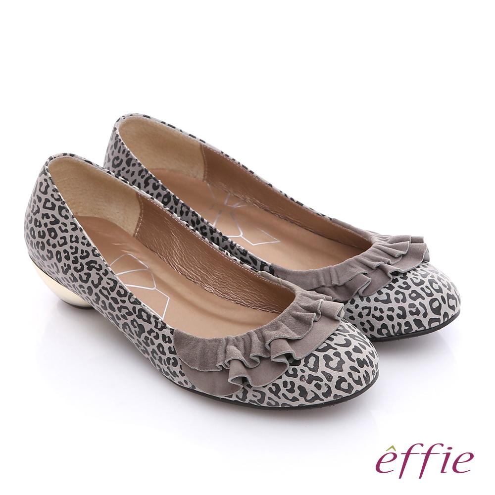 ~effie~都會 全真皮動物紋鞋面緞布拼接低跟鞋 灰