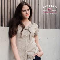 【FANTINO】女款 優雅荷葉領提花上衣(白、卡其)474105-474106