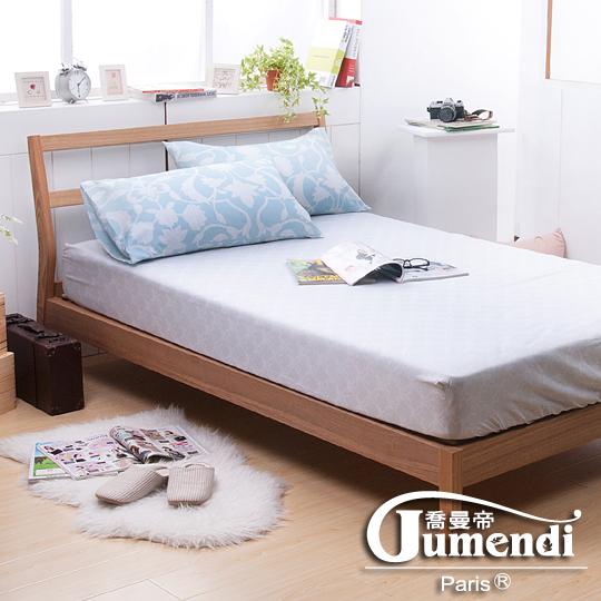 【喬曼帝Jumendi-霏語序章.藍】台灣製活性柔絲絨加大三件式床包組