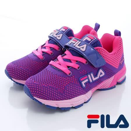 FILA頂級童鞋款-編織輕量慢跑鞋803Q-291紫桃-(20cm~24cm)