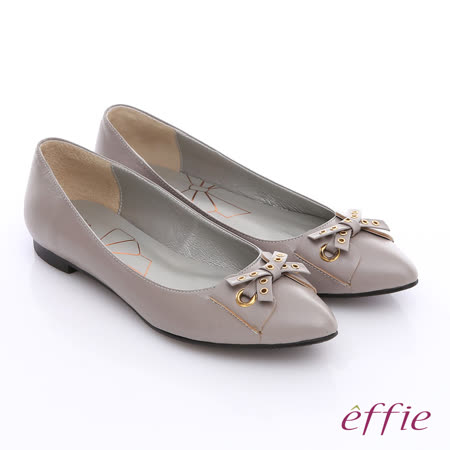 【effie】都會時尚 全羊皮金屬環飾扣蝴蝶低跟鞋(灰)