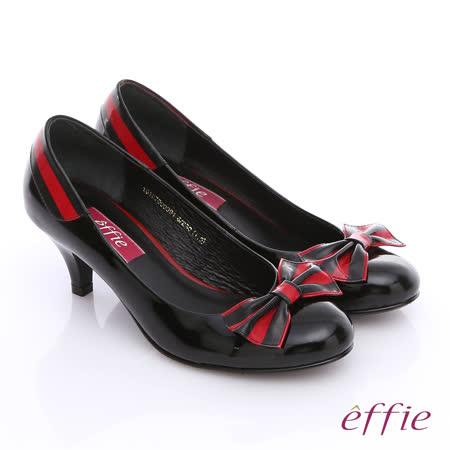 【effie】都會摩登 鏡面牛皮拼接蝴蝶結低跟鞋(黑)