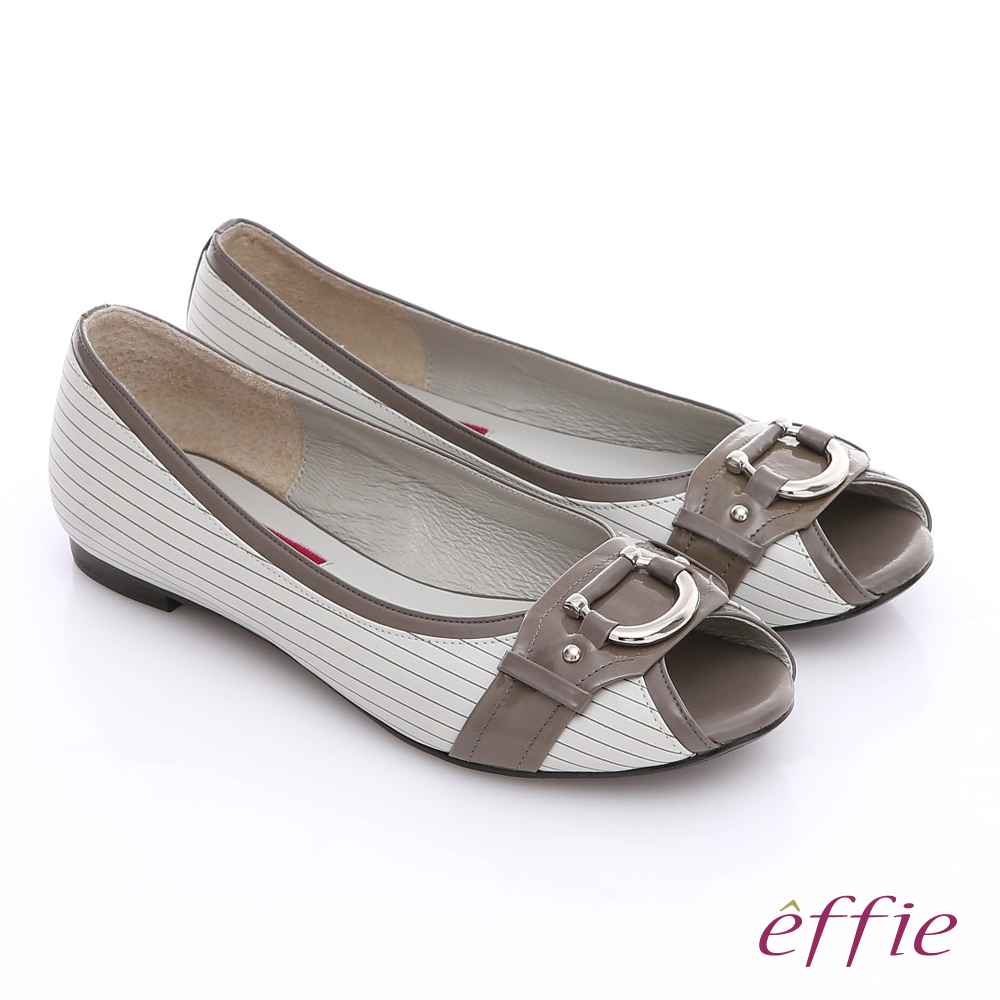 ~effie~舒適好走 鏡面牛皮立體金屬飾扣平底鞋^(深灰^)