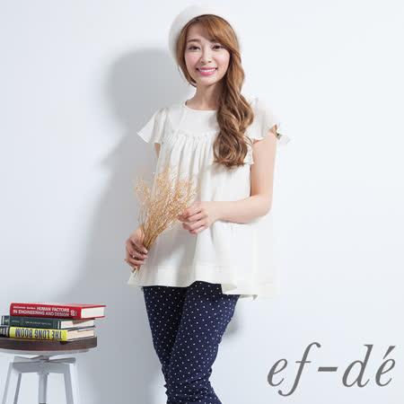 【ef-de】激安 荷葉袖雪紡拼接短袖上衣(白)