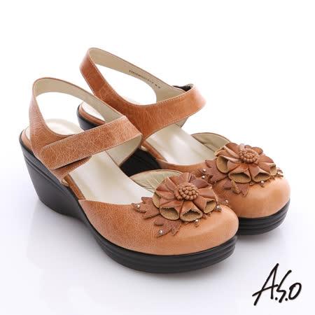 【A.S.O】美型氣墊系列 立體花前包後空魔鬼粘涼鞋(卡其)