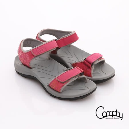 【Comphy】隨手拖系列 全真皮可調整自黏帶涼拖鞋(桃粉紅)