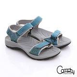 【Comphy】隨手拖系列 全真皮可調整自黏帶涼拖鞋(藍)