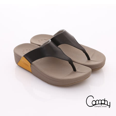 【Comphy】時尚休閒 全真皮經典T型涼拖鞋(黑)
