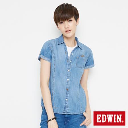 EDWIN 經典短袖牛仔襯衫-女-漂淺藍