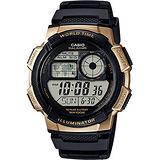 CASIO卡西歐 10-YEAR BATTERY菁英部隊電子腕錶-黑x金框/42mm AE-1000W-1A3VDF