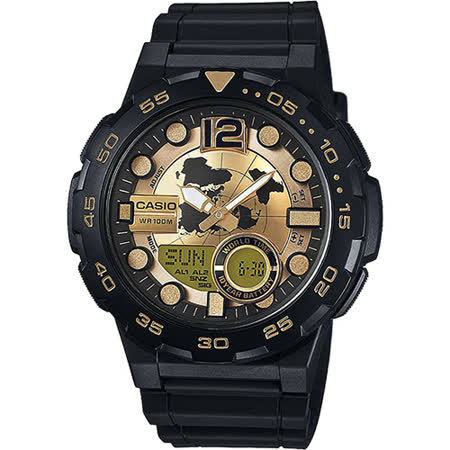 CASIO卡西歐 10-YEAR BATTERY街頭玩酷雙顯腕錶-黑金/47mm AEQ-100BW-9AVDF