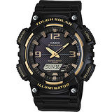 CASIO卡西歐 SOLAR POWERE 時代雙顯指針電子腕錶-黑/45mm AQ-S810W-1A3VDF