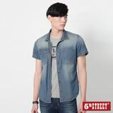 5th STREET 不對稱口袋短袖牛仔襯衫-男-中古藍