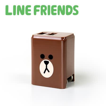 LINE FRIENDS 2.4A 隱藏式雙孔 USB充電器 - 熊大 (LN-AC240)