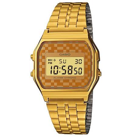 CASIO 卡西歐 復古時尚金休閒電子腕錶/A-159WGEA-9