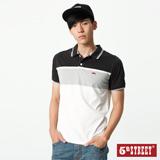5th STREET 大色塊條紋涼感短袖POLO衫-男-黑色