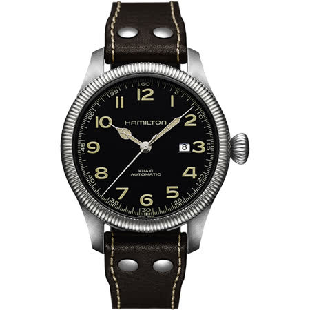 Hamilton KHAKI FIELD飛行員機械腕錶-黑/45mm H60515533
