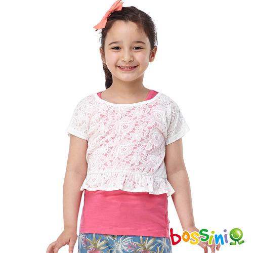 bossini女童~多層次短袖T恤21玫瑰色^(品^)