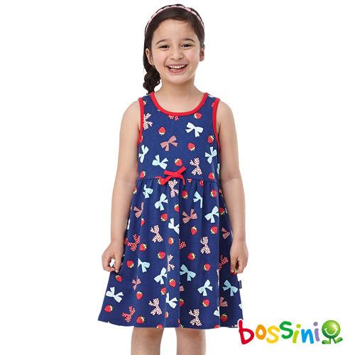 bossini女童~印花背心連身裙19海藍^(品^)