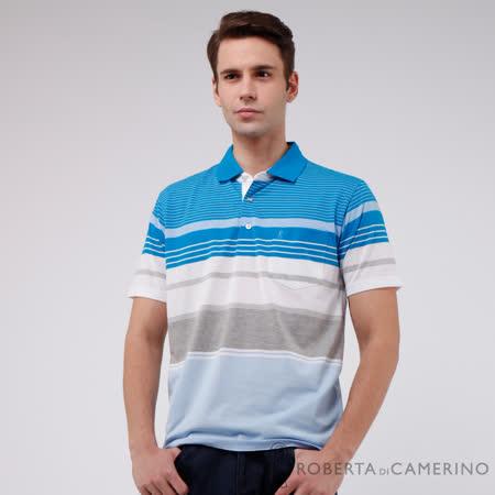 ROBERTA諾貝達 台灣製  繽紛條紋 純棉短袖POLO衫 淺藍
