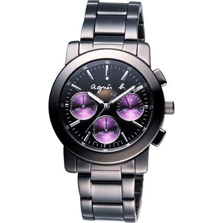 agnes b. 魔幻魅紫三眼計時腕錶-黑x紫圈/38mm V654-0AE0鐵(BWY058P1)