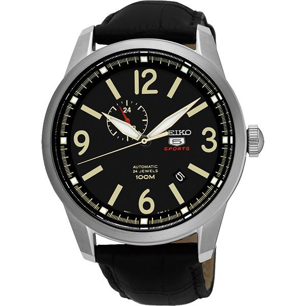 SEIKO 精工5號盾牌24石紳士風機械腕錶~黑42mm 4R37~01D0L^(SSA2