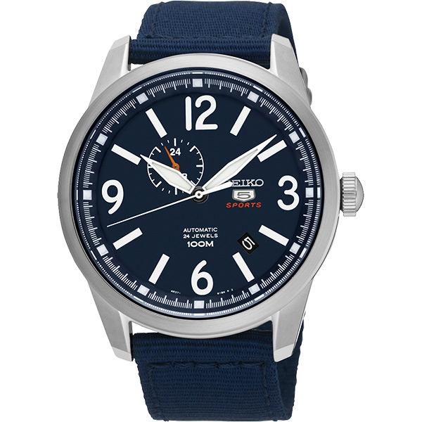SEIKO 精工5號盾牌24石紳士風機械腕錶~藍42mm 4R37~01D0B^(SSA3