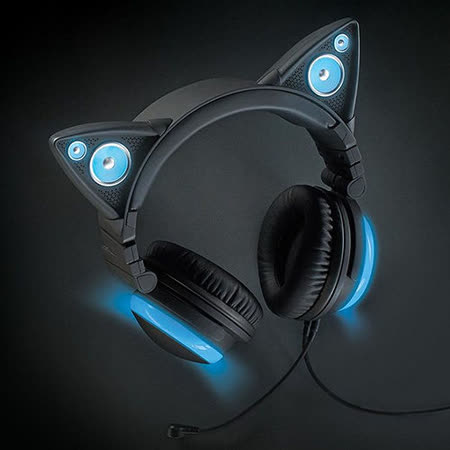 Brookstone 貓耳造型頭戴式耳機 藍