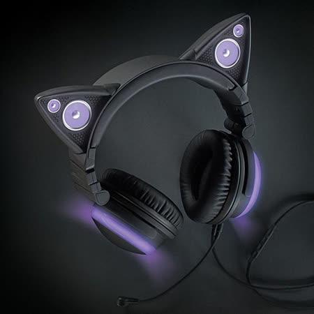 Brookstone 貓耳造型頭戴式耳機 紫