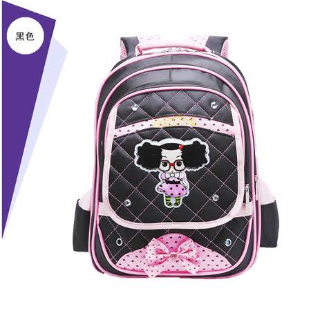 【17mall】韓版時尚可愛小女孩蝴蝶結後背減壓書包-黑