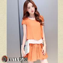 【Maya 名媛】(S~2XL)夏季絲棉用料 寬鬆二件式裙褲套裝-2色