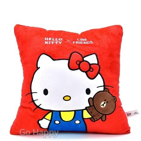 SANRIO【KITTY玩熊大】柔軟抱枕