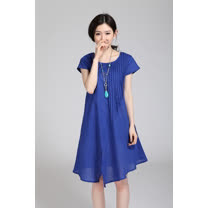 【Maya 名媛】 (M~L) 自然棉麻 夏季薄料 胸前風琴繡 不規則裙擺 寬鬆連衣裙-2色