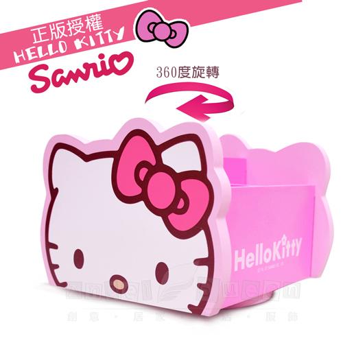 【Hello Kitty】旋轉收納 飾品盒 置物盒 360旋轉 桌上收納盒(台灣製正版授權)