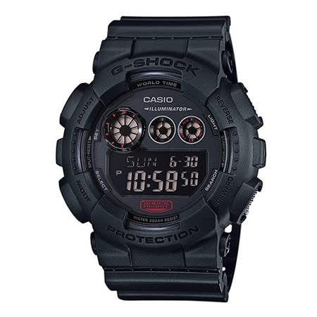 CASIO 卡西歐 G-SHOCK 黑炫街頭潮流概念運動腕錶/51.2mm/GD-120MB-1