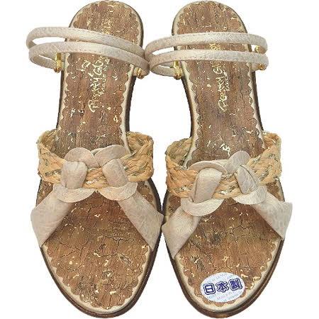 【波克貓哈日網】超舒適兩穿鞋◇高跟涼鞋◇《淺駝交叉編織》~日本製