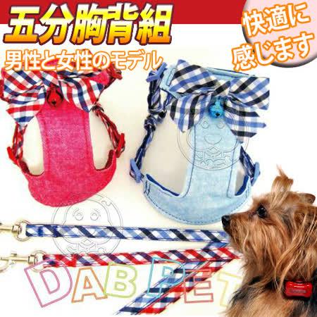 台灣DAB PET》寵物格紋五分(胸背+拉繩組)-L號/組