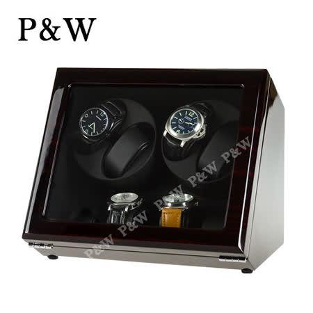 【P&W手錶自動上鍊盒】 【木質鋼琴烤漆】 【玻璃鏡面】4+4支裝 四種模式 機械錶專用 旋轉盒