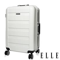【ELLE】Balder自由不羈旅行系列橫條紋刻紋霧面光感24吋鋁框旅行箱-(洗鍊白 EL3118024-35)