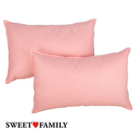 【SWEET FAMILY】100% MIT 天然水鳥羽絨枕(2入)-浪漫粉