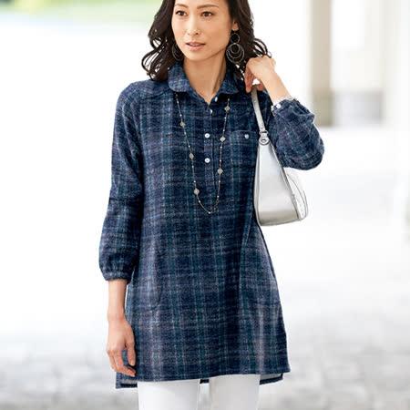 日本Portcros 預購-輕甜小圓領長版格紋襯衫(共五色)