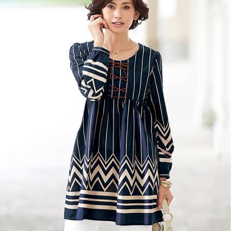 日本Portcros 預購-民族風印花綁結高腰長版上衣(共四色)