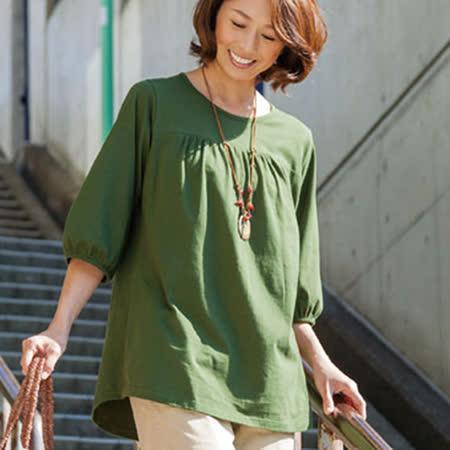 日本Portcros 預購-簡雅泡泡袖印度棉長版上衣(共四色)
